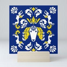 The Spirit of Saluki Damask (Blue) Mini Art Print