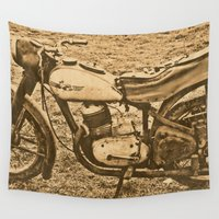 motorcycle Wall Tapestries featuring Jawa motorcycle by AhaC