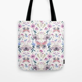 Lilac Butterfly and Flowers Tote Bag