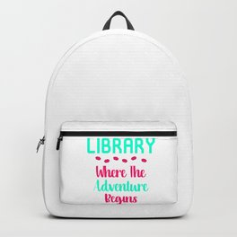 Library Where The Adventure Begins Facts Quote Backpack