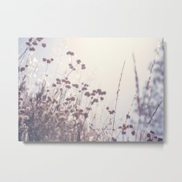 Wintry Hillside Plants Metal Print