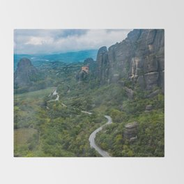 Meteora Monastery Landscape Throw Blanket