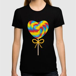Valentine's Day Heart shaped candy lollipops with bow, colorful spiral candy cane with rainbow T-shirt