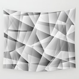 Exclusive light monochrome pattern of chaotic black and white glass fragments and silver plates. Wall Tapestry
