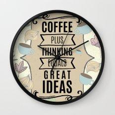 Coffee Plus Thinking = Great Ideas - Coffee Lovers Wall Clock