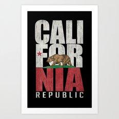 Cali Bear Flag with deep distressed textures Art Print