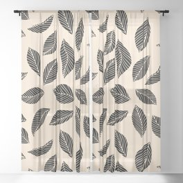 Falling Leaves in black and ivory Sheer Curtain