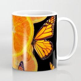 ORANGES & MONARCH BUTTERFLIES ON BLACK Coffee Mug
