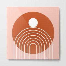 Mid Century Modern Geometric 39 in Terracotta Rose Gold (Rainbow Sun Abstraction) Metal Print