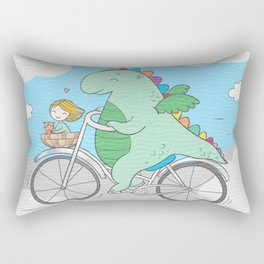 Chibi Dragon on Bicycle with Girl Rectangular Pillow