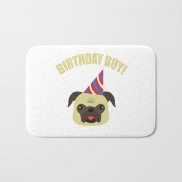 Boy Birthday Pug Dog Pet  Kids Children Party Celebration gift idea Bath Mat
