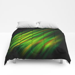 Colorful neon green brush strokes on dark gray Comforters