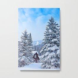 Snowy Mountain Cabin Metal Print