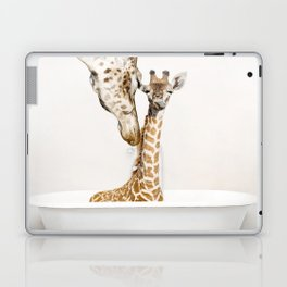 Bathitude - Mother & Baby Giraffe in a Vintage Bathtub (c) Laptop & iPad Skin