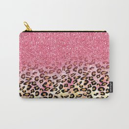 Cute girly trendy bubble gum pink faux glitter leopard animal print pattern Carry-All Pouch