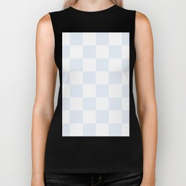 Large Checkered - White and Pastel Blue Biker Tank