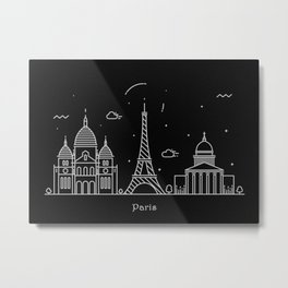Paris Minimal Nightscape / Skyline Drawing Metal Print