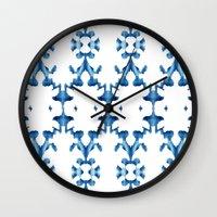 ikat Wall Clocks featuring Ikat by Lauren Heslop