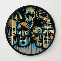 talking heads Wall Clocks featuring Heads by andres lozano
