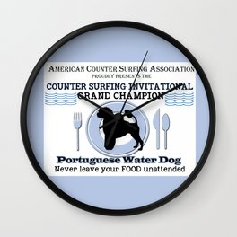 Portuguese Water Dog Counter Surfing Champion Wall Clock