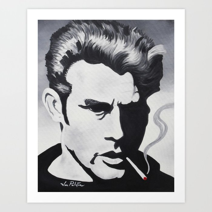 James dean black and white forever young art print