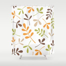 Assorted Leaf Silhouettes Retro Colors Shower Curtain