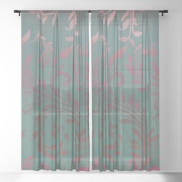 Ombre Damask Teal and Pink Sheer Curtain