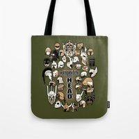 fandom Tote Bags featuring Helmets of fandom - respect the head! by CaptainLaserBeam