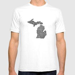 Typographic Michigan T-shirt