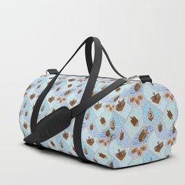 Hanukkah Dreidel and Gelt Mosaic in Light Blues Duffle Bag