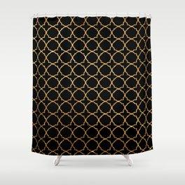 Elegant black faux gold glitter chic quatrefoil vector illustration Shower Curtain