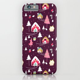 gingerbread house Purple #Christmas #Holiday iPhone Case