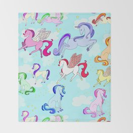 Unicorn repeating pattern colorful on blue Throw Blanket