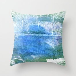 Wintergreen Dream abstract watercolor Throw Pillow
