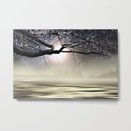 The Ice Storm - Mist on the Pond color photography - photographs,  New England Metal Print