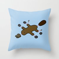 platypus Throw Pillows featuring Platypus Diagram by Jez Kemp