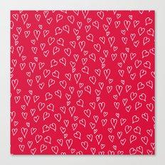 Modern white red love hearts handdrawn Valentine's pattern Canvas Print