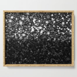 Black & Silver Glitter Gradient Serving Tray