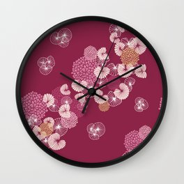 Floral Seamless Pattern Wall Clock