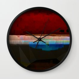 Red Pattern Digital Abstract Wall Clock
