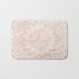 Mandala - rose gold and white marble 3 Bath Mat