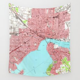 Vintage Map of Jacksonville Florida (1950) Wall Tapestry