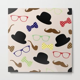 Glasses hats and Mustache Metal Print
