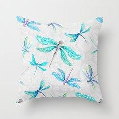 Dragonflies on Paisley Throw Pillow