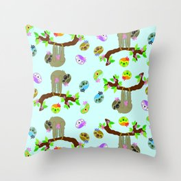 Silly Sloth in Blue Throw Pillow