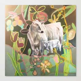 Mama and Baby Cow, Stand By Me, white cow and calf, floral background Canvas Print