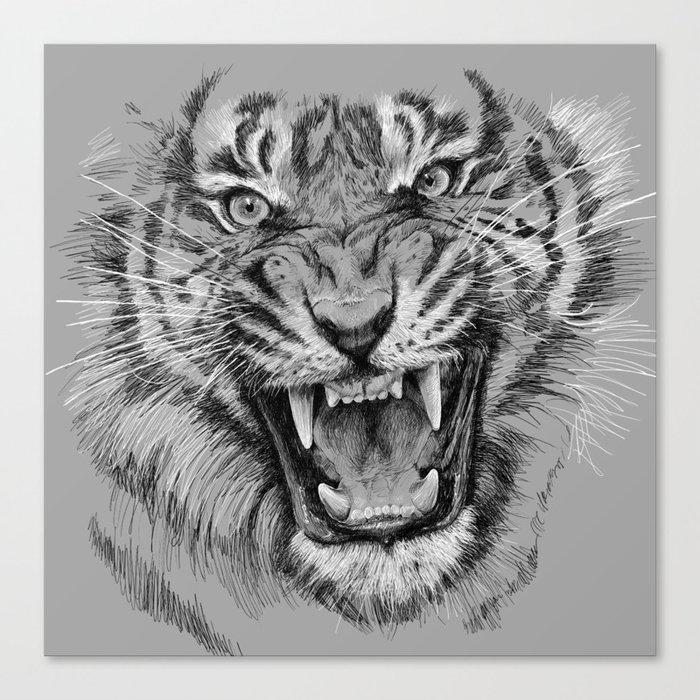 0233a2d18 Tiger Portrait Animal Design Canvas Print by olechka | Society6