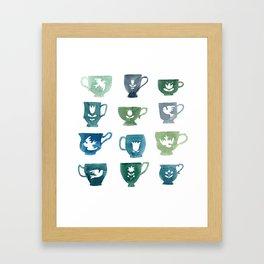 Green & Blue Teacups Framed Art Print