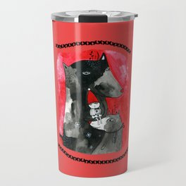 Two wolfs and Little Red Riding Hood Travel Mug