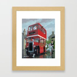 bus queue for a red bus on a rainy day Framed Art Print